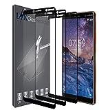 LK Protection écran Nokia 7 Plus, [3 Pièces] [Couverture complète] Verre Trempé [Garantie de Remplacement à Durée de Vie] Screen Protector Film - Noir