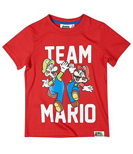 Nintendo Super Mario Bros Licensed Boys Short Sleeve Top T-Shirt 100% Cotton - New 2017 - Red 8