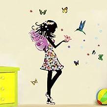 Ángel Hada Mariposas Aves Adhesivo decorativo para pared casa de vinilo extraíble papel pintado de salón dormitorio cocina arte imagen PVC Murales de ventana puerta decoración + 3d rana coche adhesivo regalo
