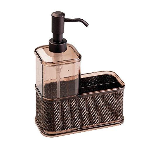 iDesign Twillo Spülorganizer, großer Seifenspender mit Ablage aus Kunststoff, bronzefarben - Bronze Halter Flüssige Seife