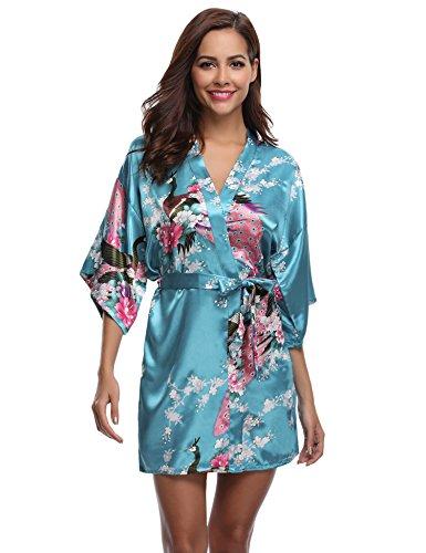 Aibrou Damen Morgenmantel Kimono Robe Bademantel Schlafanzug Nachtwäsche Kurz aus Satin mit Peacock und Blüten See Blau L