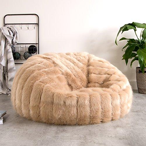 ICON Extra Größe Luxus Kunstpelz Sitzsack - CHAMPAGNE, Luxus Pelz-Optik Sitzsack für Erwachsene - XL im gestreiften goldbeige Kunstpelz
