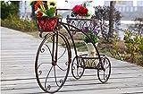 ZHAOJHJ Europäische Schmiedeeisen Kreative Fahrrad Blume Stehen Balkon Boden Multi Layer Blume Stehen Anlage Bonsai Rahmen (Farbe : Messing)