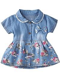 Fossen Bebe Niñas Vestido de Mezclilla Vestidos Mangas cortas con Estampado Floral