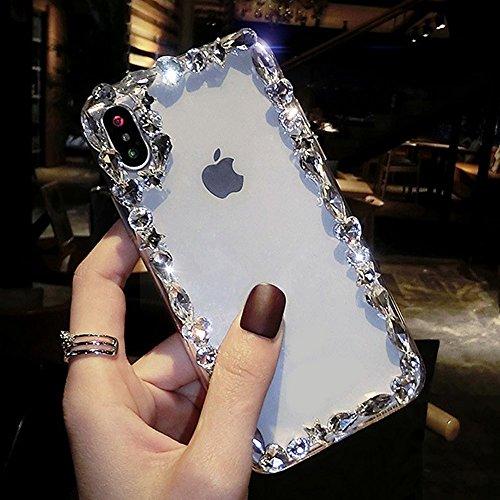 MoreChioce iPhone X Hülle,iPhone X Hülle Glitzer, Luxus Bling Strass Sparkle Silikonhülle Stoßfest Kratzfeste Durchsichtig Handyhülle für iPhone X Weiß Diamant Rückhülle Crystal Case Defender Bumper