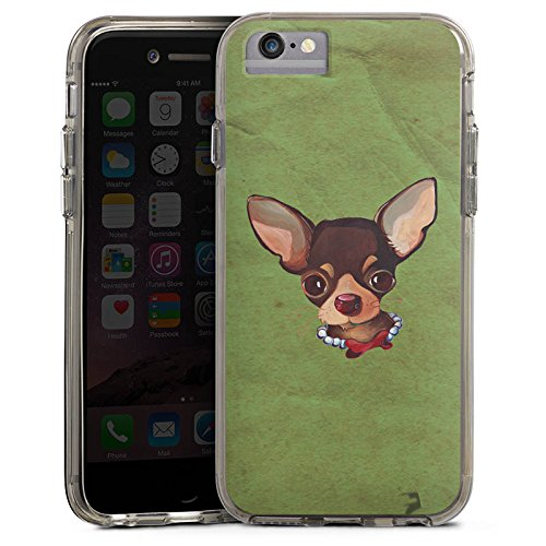 Apple iPhone 6 Bumper Hülle Bumper Case Glitzer Hülle Chihuahua Hund Dog Bumper Case transparent grau