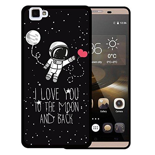 WoowCase Cubot X15 Hülle, Handyhülle Silikon für [ Cubot X15 ] Astronaut Herz - I Love to The Moon and Back Handytasche Handy Cover Case Schutzhülle Flexible TPU - Schwarz