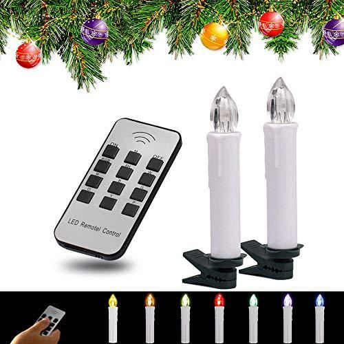 YAOBLUESEA 50stk RGB Weinachten LED Kerzen Lichterkette Kerzen Weihnachtskerzen weihnachtsbaum kerzen Weihnachtsbaumbeleuchtung mit Fernbedienung Kabellos mit Timer für Weihnachtsbaum Weihnachtsdeko