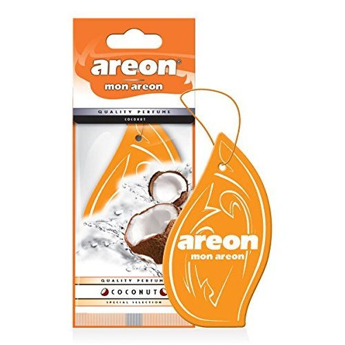 Areon Mon Car Air Freshener Coconut Orange Tropical Sweets Scent Perfume Hanging 2D Paper Pack of 1
