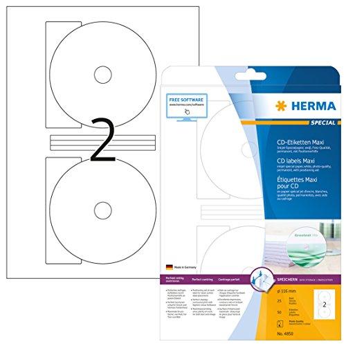 Herma 4850 Tintenstrahldrucker CD-Etiketten Foto-Qualität (Ø 116 mm, Innenloch klein, A4 Papier) weiß, 50 St, 25 Bl, Zentrierhilfe,selbstklebend