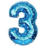 JUSTFOX - Zahl Luftballon XL 75CM Nummer Folienballon Kinder Geburtstag Deko (3, Blau)
