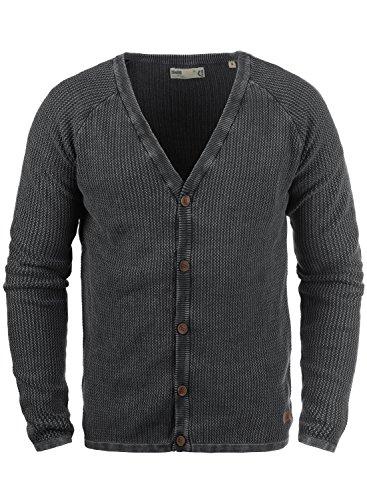 !Solid Tebi Herren Strickjacke Cardigan Grobstrick Winter Pullover mit V-Ausschnitt, Größe:XL, Farbe:Black (9000)