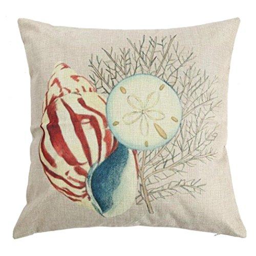 Kissenbezug sunnymi Sofa Bett Kissen Cover Flachs,Art Shell Schale Stil,Bettwäsche Babybett Sessel (C, 45cm*45cm) (Bettwäsche Shell)