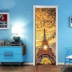 3D Porte Autocollants Toile Paris Tour De Fer Imprimer Art Photo Pour Chambre D'enfants Décoration de La Maison Autocollant Affiche Étanche Papier Peint Pâte