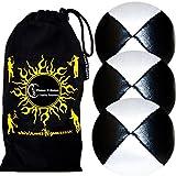 3x Balles de Jonglage THUD En Cuir Super Durable (Leather) PRO Jonglerie Beanbag Jonglage Balles + Sac de voyage. (Noir/Blanc)