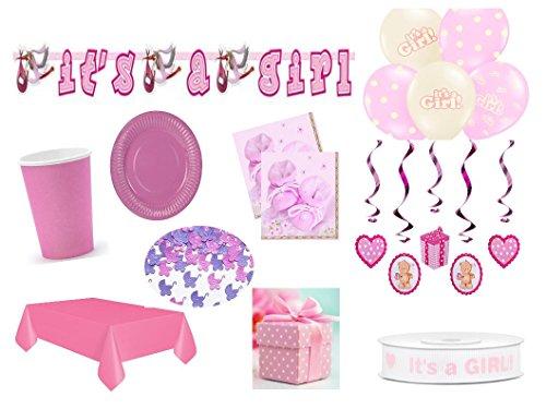 XXL Partyset Babyparty rosa Mädchen 69teilig Pullerparty Baby Geburt