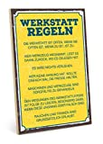 TypeStoff Holzschild mit Spruch – Werkstatt Regeln – im Vintage-Look mit Zitat als Geschenk und Dekoration (Größe: 19,5 x 28,2 cm)
