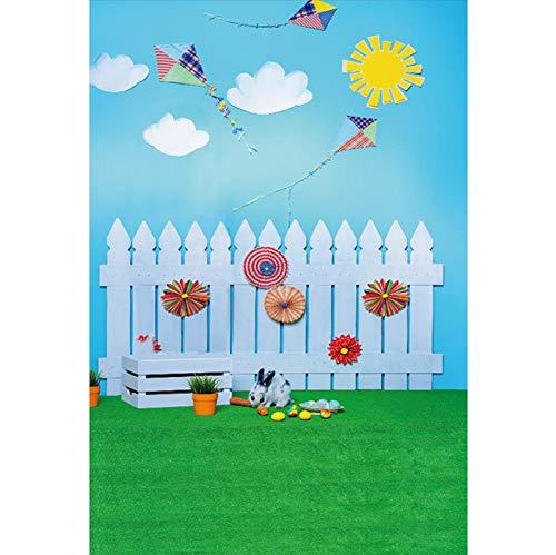 Cassisy 1x1,5m Vinyl Ostern Fotohintergrund Holzzaun Sunny Sky Kite Ostereier Kaninchen Grasfelder Fotoleinwand Hintergrund für Fotoshoot Fotostudio Requisiten Party Photo Booth