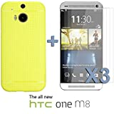 OnlineBestDigital - Colorful Hard Back Case for HTC One M8 - Jaune avec 3 Film de Protection