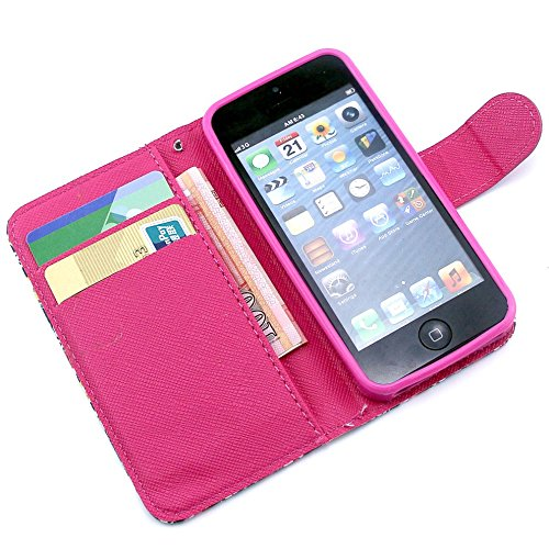 Più colorate Ancerson in pelle PU Flip Custodia per cellulare per Apple iPhone 5/5S/5G in pittura ad olio Stil Colorful Painting Custodia Flip Case Custodia in similpelle custodia per cellulare con fu Blume 2