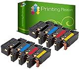 Printing Pleasure 8 Compatibles Cartuchos de tóner para Dell 1250c 1350cn 1350cnw 1355cn 1355cnw C1760nw C1765nf C1765nfw C17XX - Negro/Cian/Magenta/Amarillo, Alta Capacidad