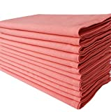 Linen Clubs 100% Cotton,20' Square, Oversized Coral Color Solid Dinner Napkin with Decorative Selvedge Fold Pack of 12