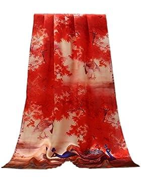Prettystern - 180cm sciarpa delle signore Lily Bird Libellula handrolled 100% pastelli panno di seta - selezione...