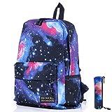 Galaxy Muster Unisex Reise Rucksack Canvas Freizeit Taschen Schultasche Rucksack Blau