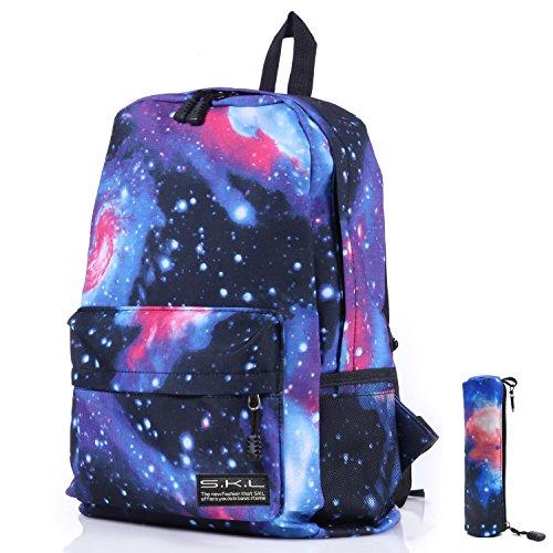 GIM Scuola Zaino Unisex Rucksack Borsa Galaxy modello Daypack per Bambini Giovani Uomini Donne il tempo libero da viaggio e la scuola - Blu