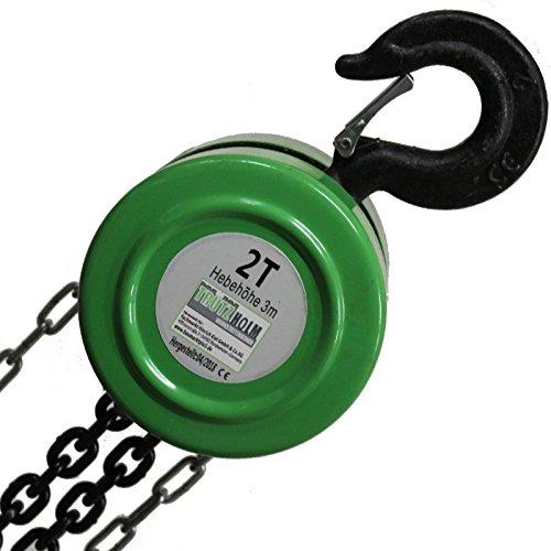 TrutzHolm® Kettenzug HSZ 2000kg 2t 3m Flaschenzug Hebezug Kettenflaschenzug Seilzug Kran 2t