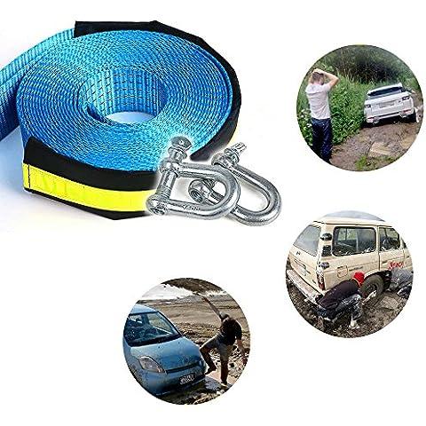 Nailon recuperación Tow Correa ezykoo resistente cuerda de remolque 20K LB capacidad con grilletes de acero 2pcs para coche Van Camión SUV (2