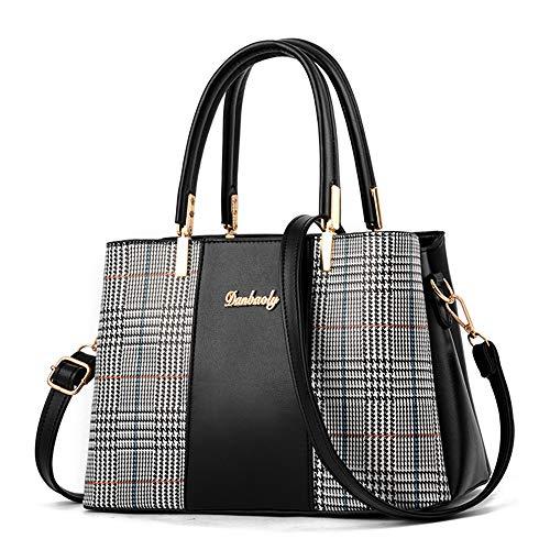 JUND Mode Kariert Handtasche Schick Patchwork Handtaschen Elegant Damen Umhängetasche Einfach Ledertasche