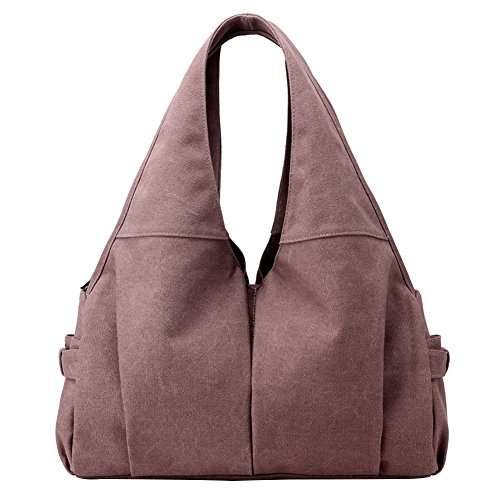 PB-SOAR Damen Canvas Shopper Schultertasche Handtasche Hobo Bag Beuteltasche Wickeltasche, 5 Farben auswählbar (Dunkel Lila) (Lila Shopper)