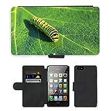 Just carcasa caliente estilo ranura de tarjeta de teléfono celular Funda de piel sintética//m00138235Caterpillar Lepidoptera Hoja Verde//Apple iPhone 4, 4s y 4G