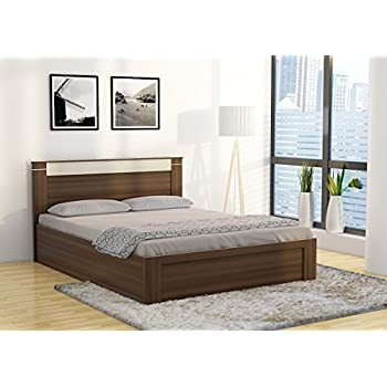 spacewood pacific queen size bed with storage woodpore finish moldau akazia