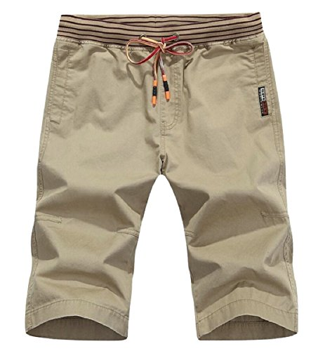 Gocgt Men Slim Fit Cotton Washed Army Multi-Pocket Shorts