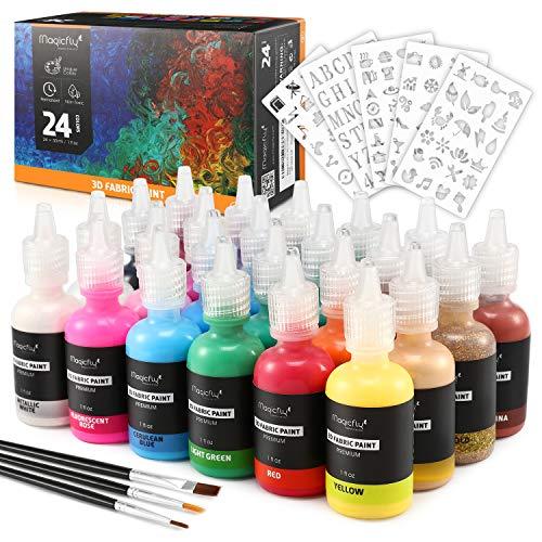 Magicfly Waschfest Stofffarben, 24 Farbige 3D Wasserfest Textilfarbe | 30 ml Pro Flasche | mit Einer im Dunkel leuchtende Farbe für Kleidung Glas Holz Textil Stoff Leinwand usw