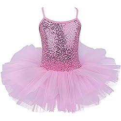 IEFIEL Justaucorps de Danse Classique Ballet Tutu Paillettés sans Manches Enfant Fille 2-12 Ans Rose 5-6 Ans