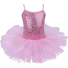 Freebily Maillot de Ballet Danza Vestido Algodón con Lentejuelas para Niña (4-8 años) Tutú Infantil Brillante