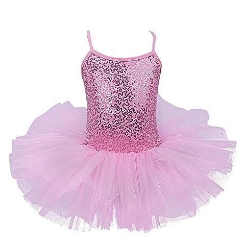 freebily Enfant Fille Princesse Robe de Danse Tutu Ballet Justaucorps paillettes T-shirt Sans Manches 4-8 Ans Rose 7-8 Ans