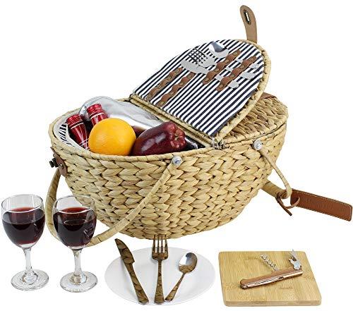 HappyPicnic Seagrass Picknickkorb für 2 Personen, Picknickkorb-Set mit isoliertem Kühlfach, Tragbarer Korb mit faltbaren Griffen (Navy Stripe) MEHRWEG