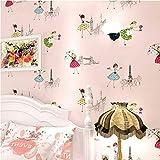 Pmrioe Moderne Cartoon Kind Tapete Kinderzimmer Rolle 3D Rosa Ballett Mädchen Prinzessin Zimmer Schlafzimmer Vliestapete, B