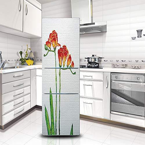 Kühlschrank Vinyl Cover (Ruifulex Kühlschrank Aufkleber Selbstklebende Aufkleber, Kühlschrank Tür Aufkleber Professionelle Vinyl Wallpaper Upgrade, Aquarell Blumen 60 * 150cm)
