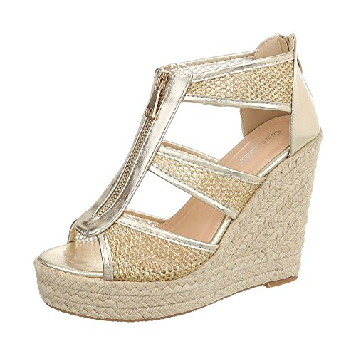 Ital-Design Keilsandaletten Damen-Schuhe Keilabsatz/Wedge Keilabsatz Reißverschluss Sandalen & Sandaletten Gold, Gr 38, B680L-Sp-