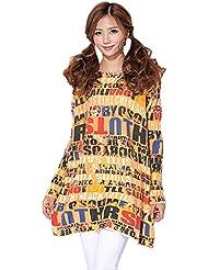 Bigood Pull Grande Taille Femme Sweat Manche Longue Col Rond Sweat-shirt Imprimé Casual Mode