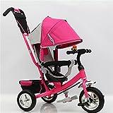 LZTET KinderwagenTreidrad Kinderwagen Faltendes Baby Pedal Kinderwagen 1-6 Jahre Altes Kind Fahrrad Kinderwagen,Pink