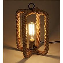 QiangDa mesa lámpara ligero escritorio leyendo lámpara de mesa de mimbre tejidas a mano de Europa y América la casa de moda jardín de césped natural lámpara de mesa de cáñamo Nueva lámpara