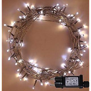 Weihnachtsfee-Lichter 500 LED 2 in 1 warmweiß und helle weiße Baum-Lichter Innen Gedächtnis, Timerfunktionen, Netzbetriebene feenhafte Lichter 50m/164ft Lit-Länge CLEAR Kabel