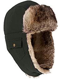 dc99e889dff Unisex Trooper Trapper Hat Warm Thick Faux Fur Mens Winter Hats for Womens  Earflaps Hunting Hat Outdoor…