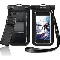 Funda Impermeable Móvil Aunote Bolsa Sumergible IPX8 Certificado Universal Para iPhone 7 7 Plus 6 6s Plus Samsung S8 S8 Plus S7 S6 Edge Deportes Acuaticos For 6 pulgadas Negro